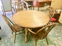 Ercol made Dining Room Table & 4 Chairs. Made from elm Golden Dawn .