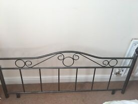 Headboard for double bed. Silver and grey metal in good condition.