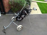 Half Set of Men's Palm Springs right-hand golf clubs with bag and trolley