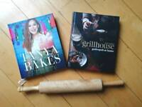 Rolling pin NEW Tanya Burr Baking book NEW Gastropub recipe book FREE with bundle