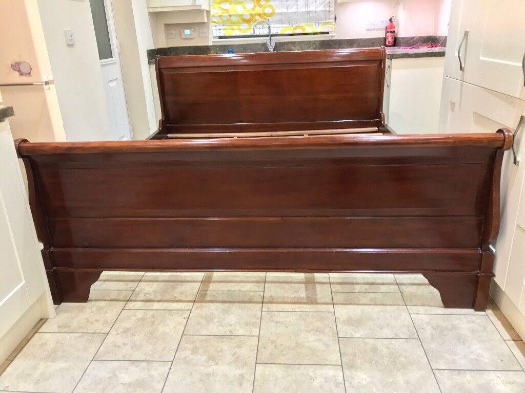 French Style Mahogany Super King Size Sleigh Bed Frame