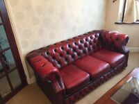 Lovely vintage Chesterfield Oxblood Red Leather sofa set