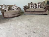 Brown dfs 2 seater sofa bed & cuddle swivel sofa, couch, suite furniture 🚛🚚🚛