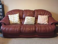 Leather 'Raspberry' 3 Piece Suite