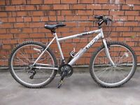 EXCELLENT TRAX TR1 RIGID SILVER MOUNTAIN BIKE, 19 inch FRAME, 18 SPEED GEARS
