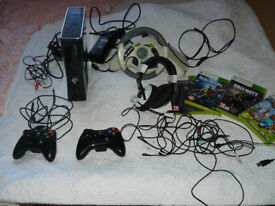 Xbox 360 with controller, headset, games