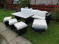 NEW Rattan Garden Furniture set with Dining Table, 3 seater sofa and 4 stools
