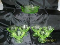 GREEN RETRO STYLE TRIFLE OR FRUIT BOWL WITH SIX SIDE DISHES