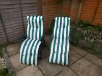 2x reclining garden chairs.