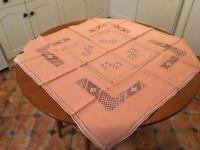 Pretty peach Spanish tablecloth & napkins