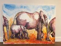 Large original elephant canvas picture