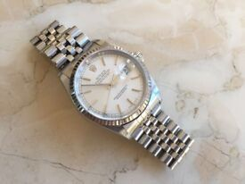 ROLEX DATEJUST 16234 STAINLESS STEEL/18CT WHITE GOLD WITH RHODIUM DIAL 2003 MODEL MENS GENUINE WATCH