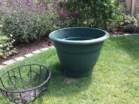 Large green plastic bell pot 45cm