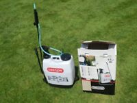 OREGON Backpack sprayer. Brand new and unused.Both wide and narrow spray nozzles, spare o rings.
