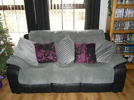 Grey and Black 3 seated sofa