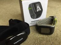 Tom Tom Multisport watch with chest strap HRM. Swim, run and cycle features.