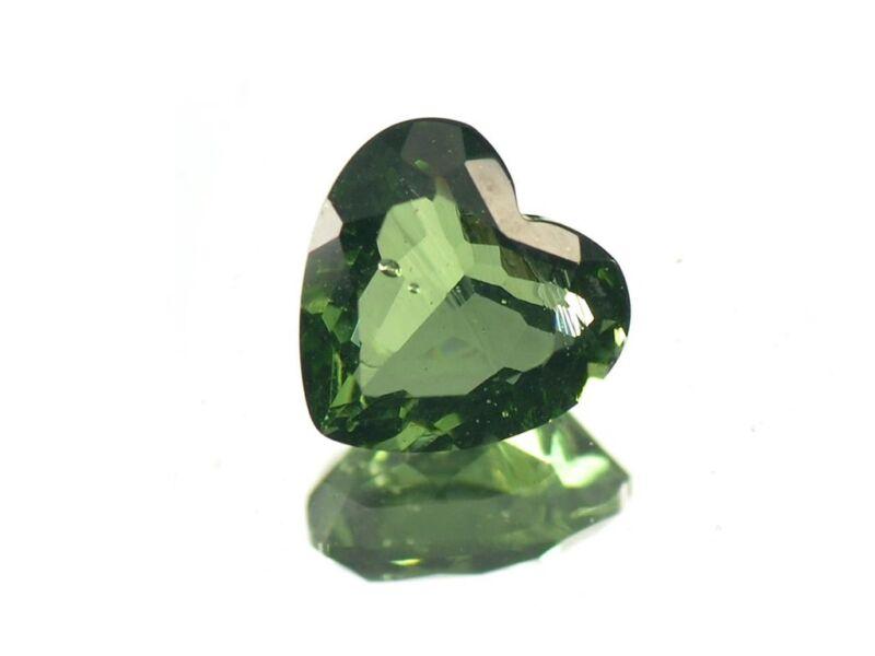 1.54cts heart standart cut 8mm moldavite faceted cutted gem BRUS863