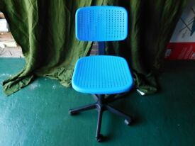 IKEA OFFICE SWIVEL CHAIR ~ BLUE ~ ADJUSTABLE SEAT HEIGHT