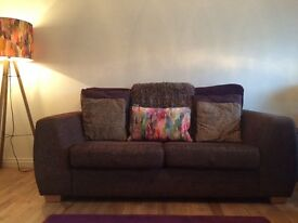 Reid's brown fabric sofa - 3&2 seater with puffett. Excellent condition. Stain guard protected