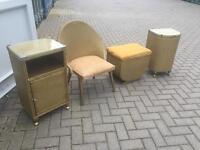Lloyd loom style set (chair, bedside, laundry, footstool)
