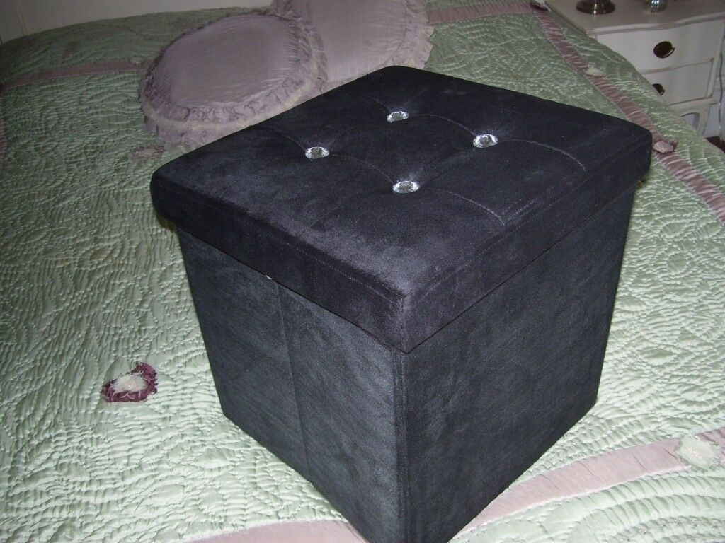 Miraculous Small Black Velvet Ottoman Storage Box With Diamante Button Detail On Lid In Dundee Gumtree Ncnpc Chair Design For Home Ncnpcorg