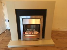 Adam Broadway Electric Fireplace Suite, Travertine with Helios Electric Fire
