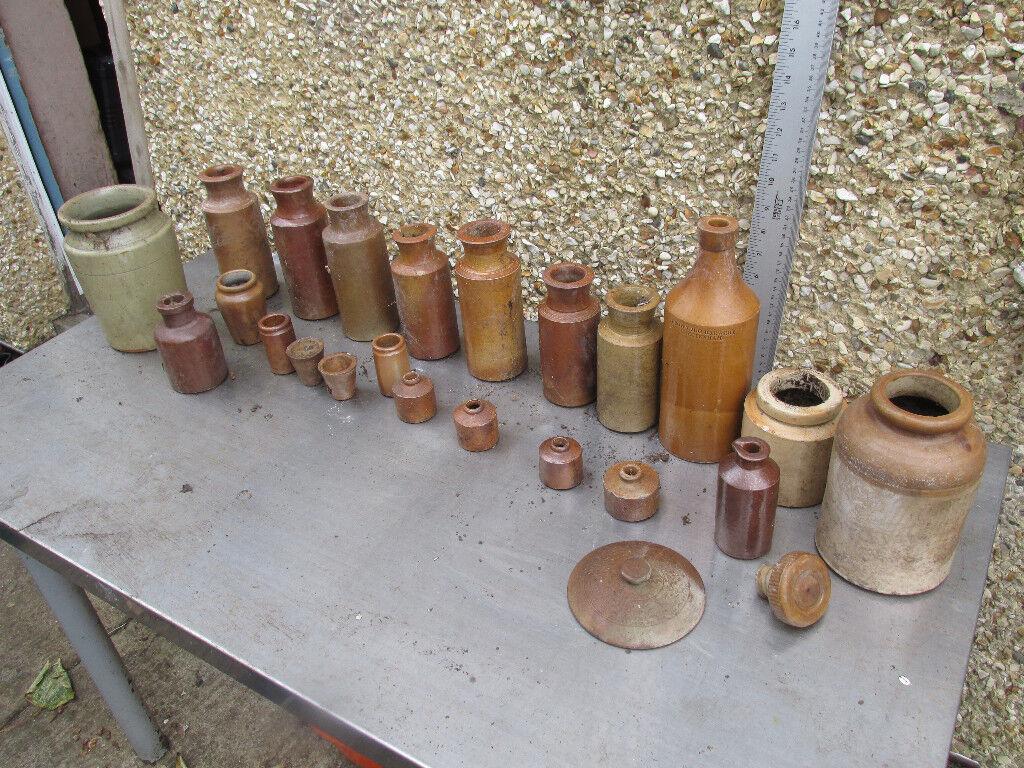Lot of Brown/Green Pots