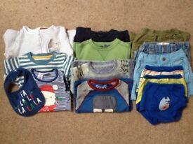 Boys 6-9 months winter clothes bundle - sleep suit, jumpers, trousers, pants, shorts, xmas vest bib