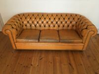 Leather chesterfield - saffron
