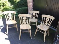 4 Solid Pine Cottage Style Chairs. Great condition, ideal for painting.