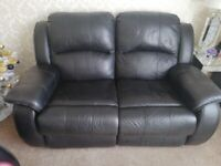 Black leather 2x2 seater recliner sofas
