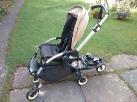 Bugaboo Bee Pram plus buggy board, rain cover, inserts and maxi cosi car seat adapters.