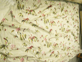 Large Almost New Lined Heavy Cotton Flock Curtains Pair 80x125""
