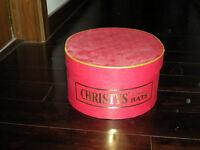 Beautiful red vintage wool felt brimmed hat in original hatbox