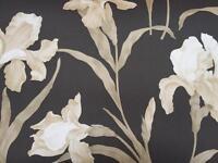 6 rolls of black/cream wallpaper