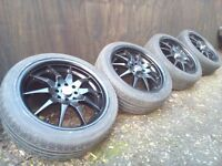 17' Alloy wheels Dunlop runflat tyres 4x100 4x114 Mini-Vauxhall-Rover-Mg-Jap car