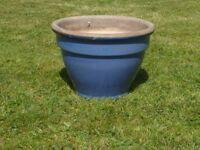 Nice Blue Glazed Ceramic Garden Planter Classic Plant Pot Shape 24cm Tall