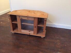 Pine Wood Corner Table / TV Stand