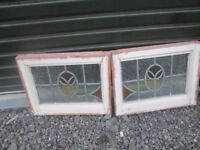 2 x Wooden Framed Victorian Stain Glassed Windows