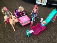 BARBIE HORSE, BEACH CRUISER CAR AND POOL & SLIDE PLAYSET IN EXCELLENT CONDITION