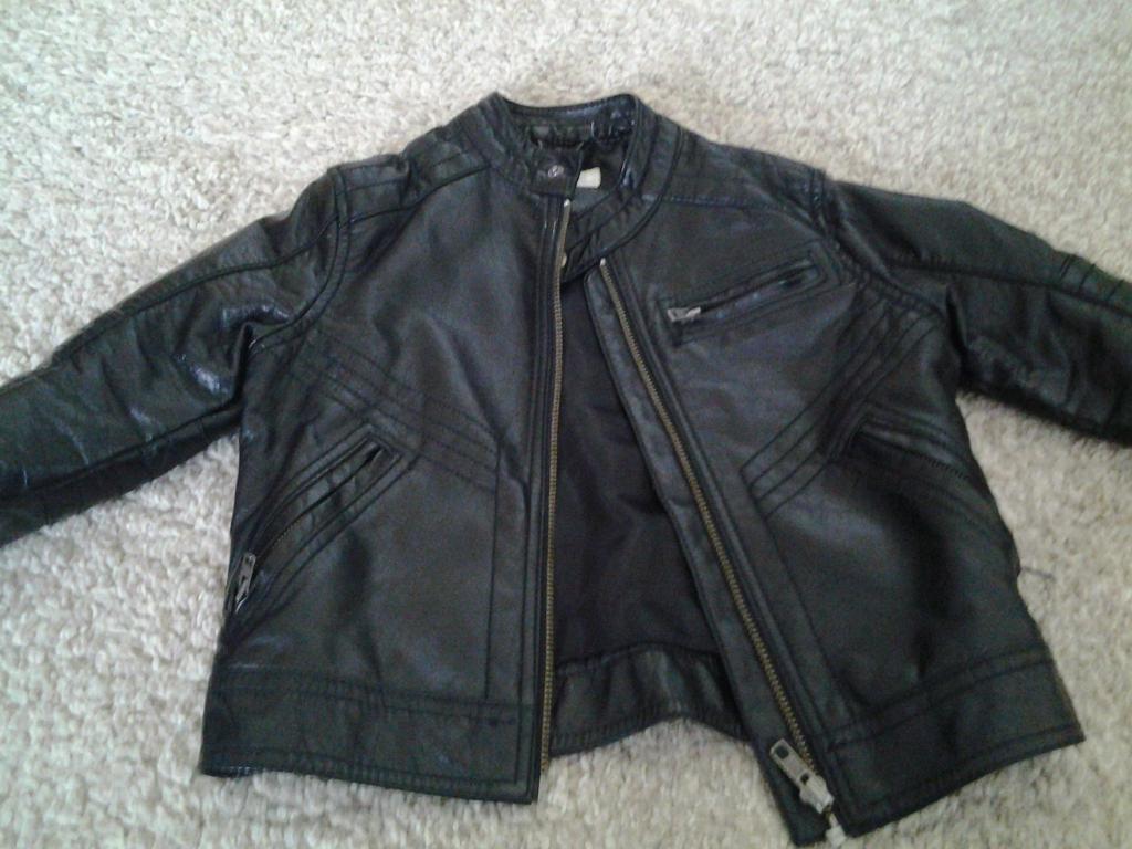 Boys Faux Leather Black Biker