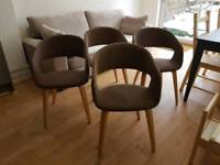 4 x retro dining chairs mink/light brown