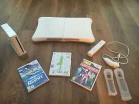 Nintendo Wii console with fit board and extras