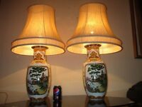 PAIR OF HUGE VINTAGE JAPANESE PORCELAIN TABLE LAMPS WITH VINTAGE SHADES