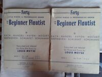 Combination of old music books for clarinet and flute