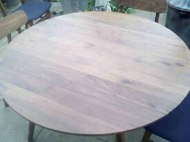 Solid walnut dining table and 4 chairs