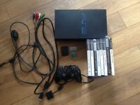 Original Fat PS2 with official controller, cables and 7 games