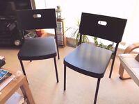 Ikea HERMAN - 2 x Black Chairs