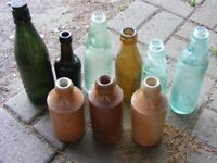 COLLECTION OF 9 OLD BOTTLES FROM COLCHESTER ESSEX.