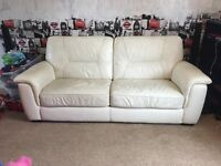 Cream leather sofa bed